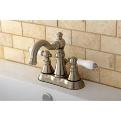 Transitional Double-handle Satin Nickel Bathroom Faucet - Thumbnail 1