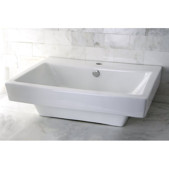 Vitreous China White Single Hole Square Topmount Bathroom Sink - Thumbnail 0