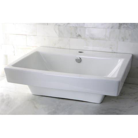 Vitreous China White Single Hole Square Topmount Bathroom Sink