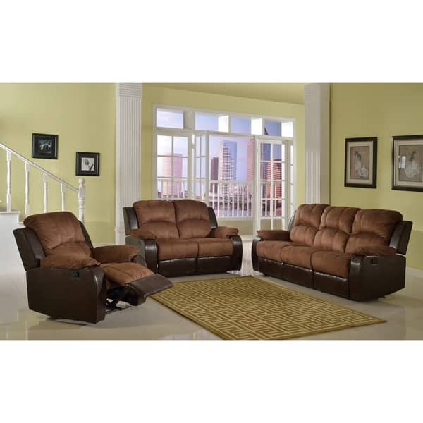 Shop Pamela Two Tone Reclining Sofa Set Overstock 6535451