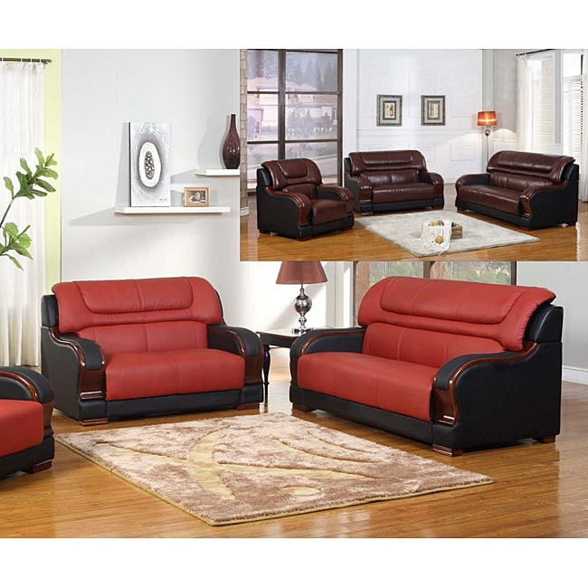 Refined Elegance Black Living Room Set Shop Madison Red-Black Leather Sofa and Loveseat - Free Shipping Today -  Overstock - 6535488