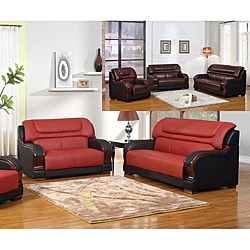 Madison Red/Black Leather Sofa and Loveseat | Overstock.com Shopping - The  Best Deals on Living Room Sets