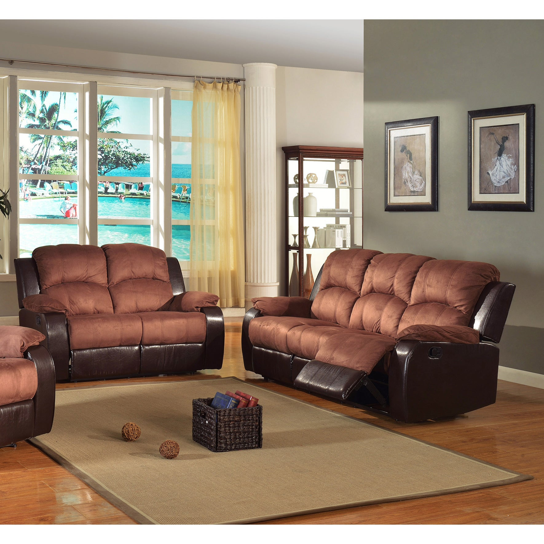 Pamela Two Tone Reclining Sofa And Loveseat Set Overstock 6535492