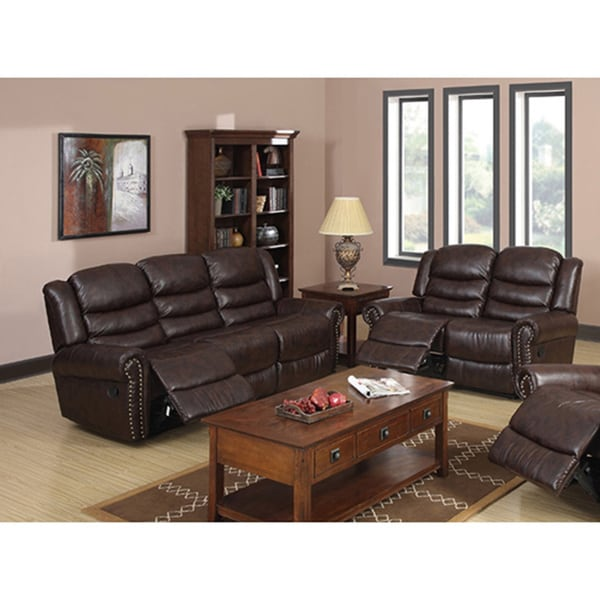 Godfather Brown Reclining Sofa and Loveseat Set - Free Shipping Today - Overstock.com - 14118577