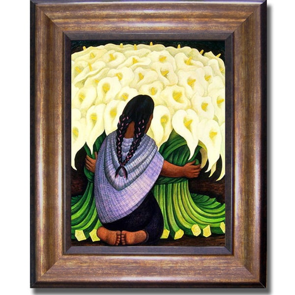 Diego Rivera \'Flower Seller\' Framed Canvas Art - Free Shipping Today ...