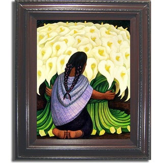 Diego Rivera 'Flower Seller' Framed Canvas Art