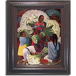Diego Rivera 'Flower Vendor' Framed Canvas Art