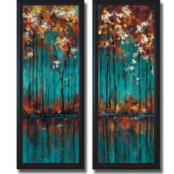 Luis Solis 'The Mirror I and II' Framed 2-piece Canvas Art Set