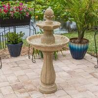 "Tethys 44"" Outdoor Solar 2-Tier Floor Fountain - Sandstone"