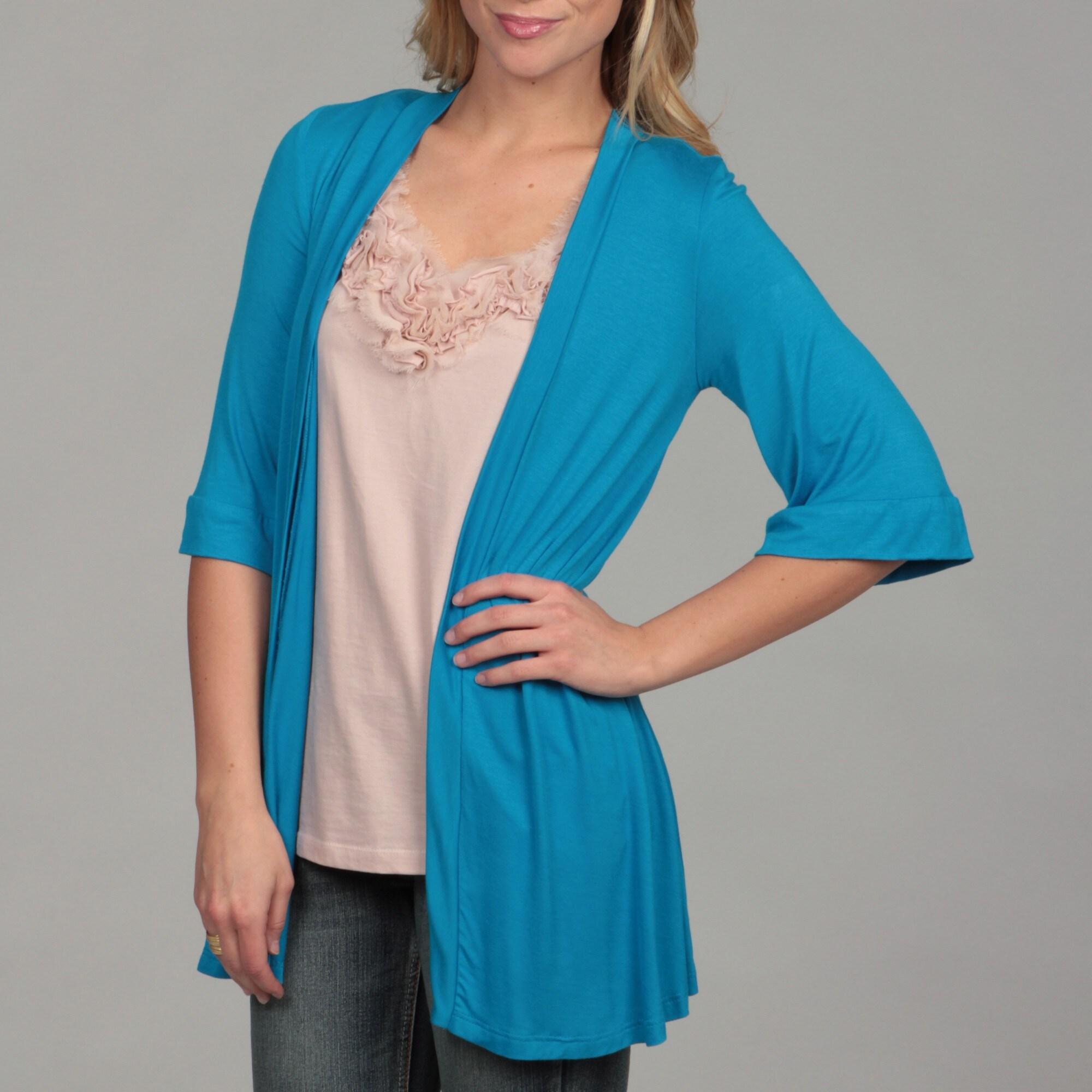 24/7 Comfort Apparel Women's Open Shrug (Turquoise- Small...