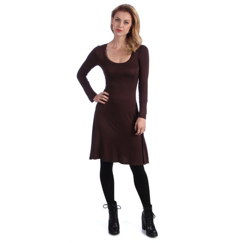 24/7 Comfort Apparel Women's Long-sleeve Dress-Plus Sizes Available