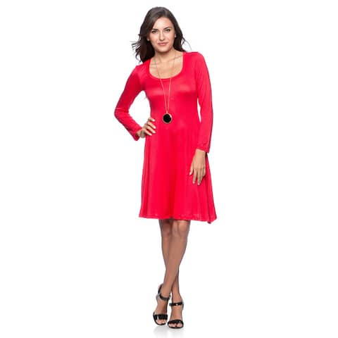24/7 Comfort Apparel Women's Long-sleeve Dress-Plus Sizes Available