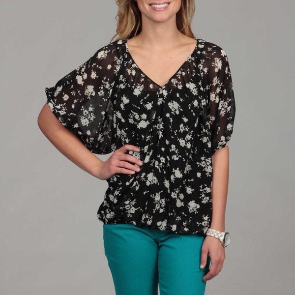 24/7 Comfort Apparel Women's Floral Bloussant Top