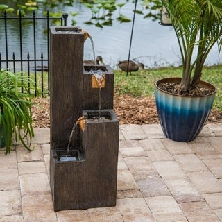 Tlaloc Indoor/ Outdoor Floor Fountain - Wood Grain Finish