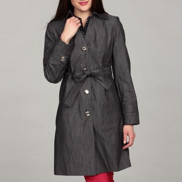 Calvin Klein Women's Denim Belted Button Front Coat