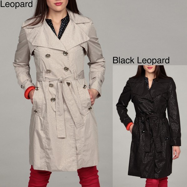 Calvin Klein Women's Leopard Print Trench Coat