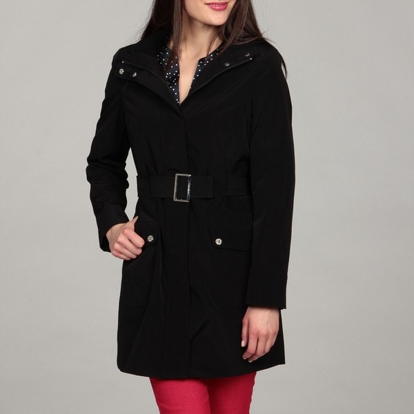 Calvin Klein Women's Black Belted Trench Coat