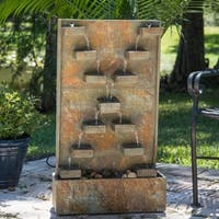 Design Craft Thaumas Indoor/Outdoor Floor Fountain - Slate
