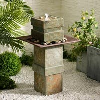 Design Craft Phorcys Indoor/Outdoor Floor Fountain - Natural Slate