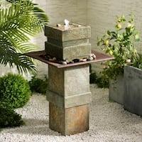 Phorcys Indoor/Outdoor Floor Fountain - Natural Slate