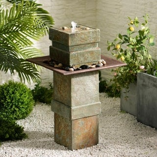 Phorcys 33-inch High With Natural Slate Finish Indoor/Outdoor Floor Fountain