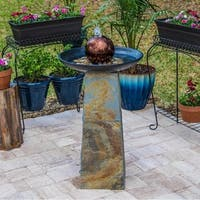 Pontus Indoor/Outdoor Slate Floor Fountain w/ Copper Orb and Natural Green Base