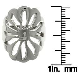 Carolina Glamour Collection Stainless Steel Cut-out Flower Shaped Ring - Thumbnail 2