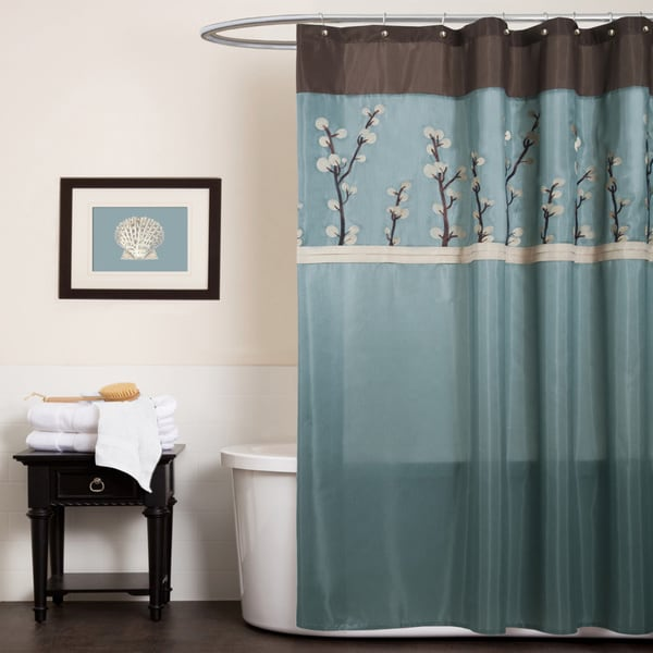 Genial Copper Grove Wakulla Flower Blue/ Brown Shower Curtain