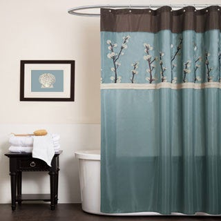 Lush Decor Cocoa Flower Blue/ Brown Shower Curtain