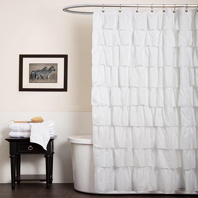 The Gray Barn Dogwood White Ruffle Shower Curtain