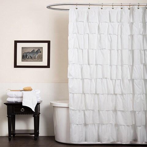 Maison Rouge Adenes White Ruffle Shower Curtain