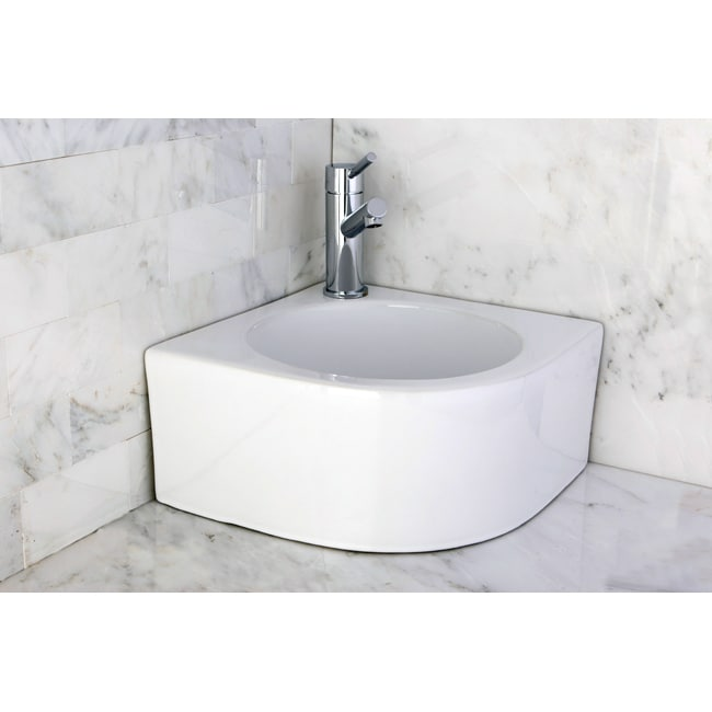 Bathroom Sinks Overstock white vitreous china corner vessel bathroom sink - free shipping