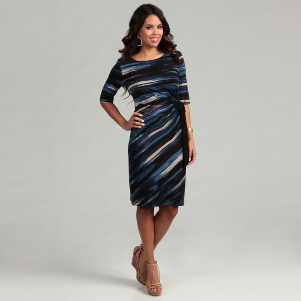 Connected Apparel Women's Blue Abstract Tie Dress