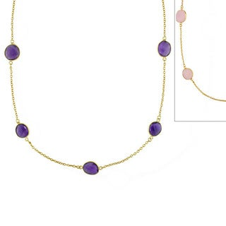Miadora 22k Yellow Goldplated Silver Gemstone 36-inch By the Yard Necklace