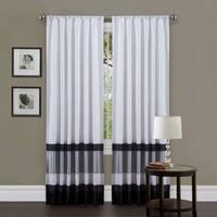 Lush Decor White/ Black 84-inch Iman Curtain Panel - 54 x 84