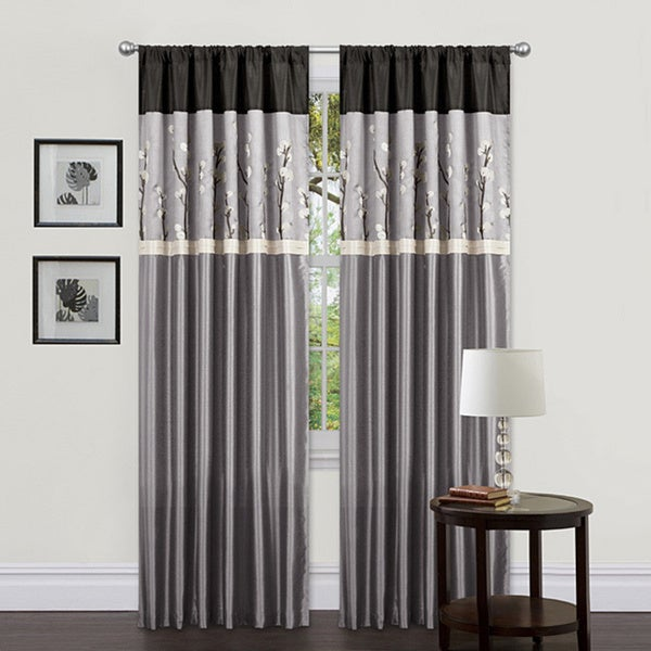 Lush Decor Grey Black 84 Inch Cocoa Blossom Curtain Panels Set Of 2 Free Shipping Today