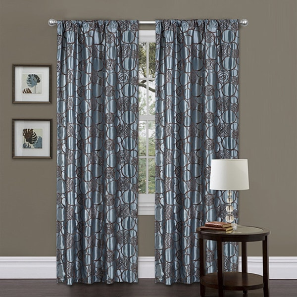 shop lush decor blue brown 84 inch circle charm curtain panel 42 x 84 free shipping today. Black Bedroom Furniture Sets. Home Design Ideas