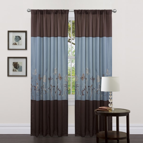 Lush Decor Blue Brown 84 Inch Butterfly Dreams Curtain Panels Set Of 2 Free Shipping On