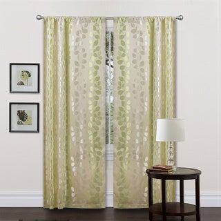 Lush Decor Beige/ Green 84-inch Teardrops Curtain Panels (Set of 2)