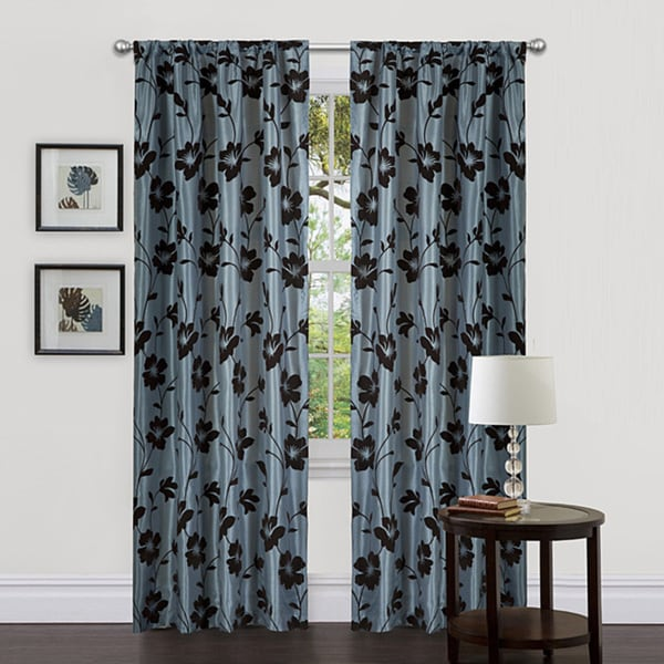 Lush Decor Blue/ Brown 84-inch Garden Blossom Curtain Panels (Set of 2)