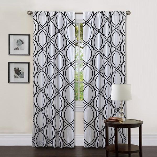Lush Decor White/ Black 84-inch Dimension Curtain Panel