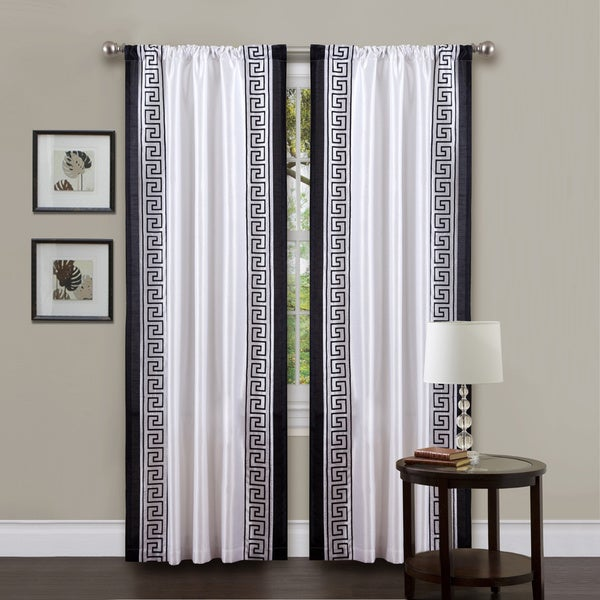 Curtains Ideas black and white panel curtains : Lush Decor White/ Black 84-inch Metropolitan Curtain Panel - Free ...
