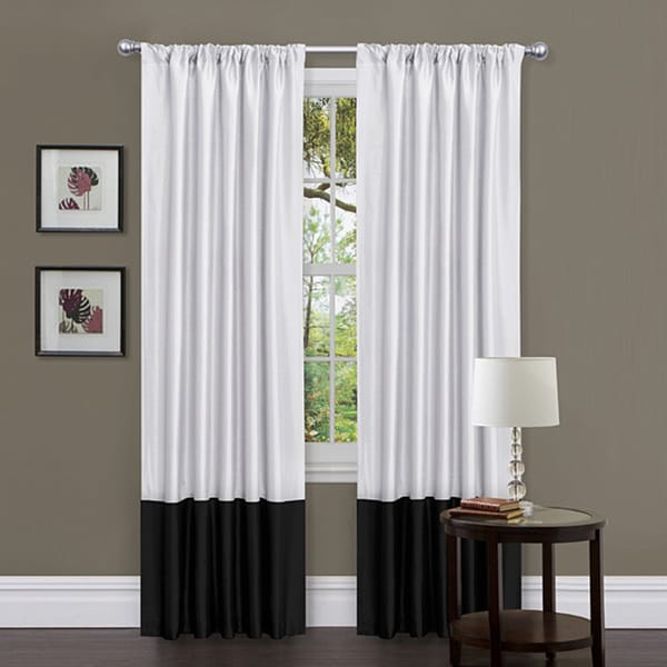 Lush Decor Black/ White 84-inch Covina Curtain Panels (Set of 2)