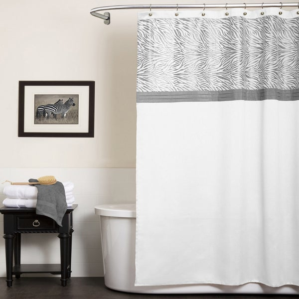 Lush Decor Serengeti White Shower Curtain