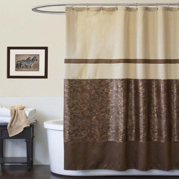 Lush Decor Crocodile Brown Shower Curtain