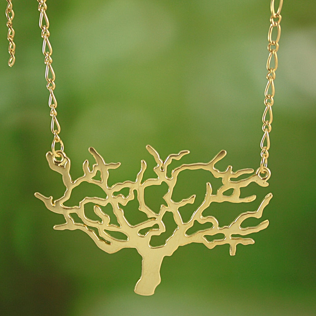 Handmade Goldtone Cut-out Tree Necklace (Thailand)