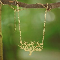 Handmade Goldtone Cut-out Tree Necklace (Thailand) - Thumbnail 1