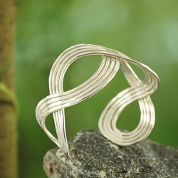 Silvertone Hammered Eternity Design Cuff Bracelet (India)