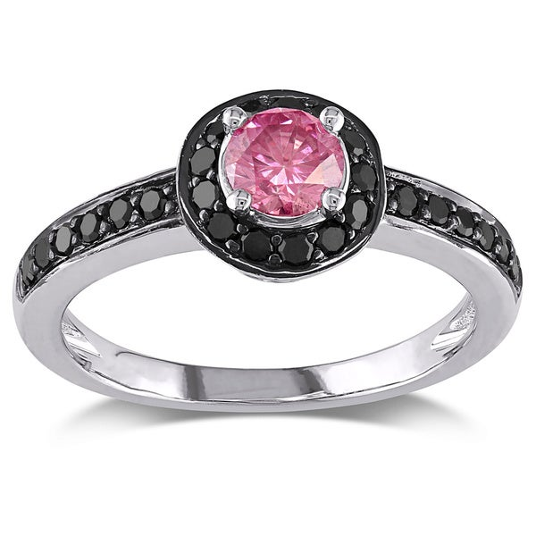 Miadora 10k White Gold 3/5ct TDW Pink and Black Diamond Halo Ring