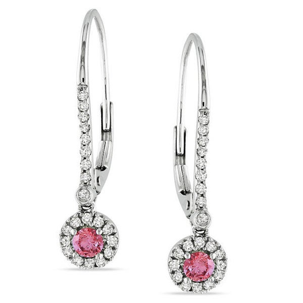 Miadora 10k White Gold 1/3ct TDW Pink and White Diamond Earrings
